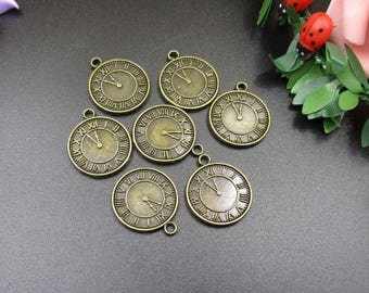 10Pcs 17x20mm Bronze Clock Charms 2 Sided-p1402