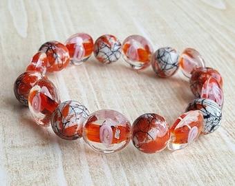 CLEARANCE Red Bracelet. Handmade Lampwork Bracelet. Glass Bracelet. Beadwork Bracelet. Beaded Bracelet Art Glass Bracelet.