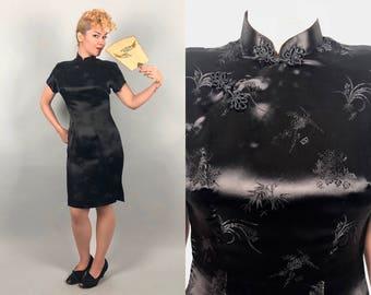 Vintage 1950s Dress | 50s Black Liquid Rayon Satin Cheongsam Short Sleeve Qipoa Evening Cocktail Chinese Dress LBD | Medium