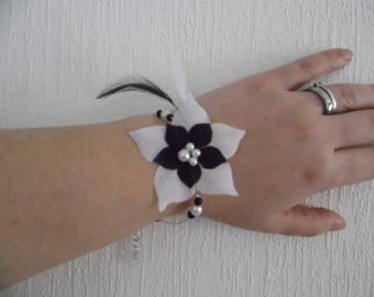 black silk flower wedding bridal bracelet / white pearls feathers holiday evening ceremony