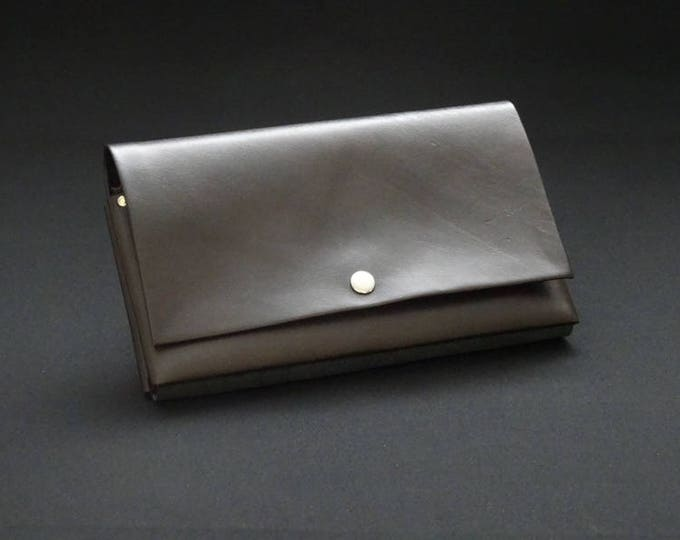 James Flat Purse - Soft Brown Satin - Kangaroo leather purse with RFID Credit Card Blocking - Handmade in Australia -James Watson