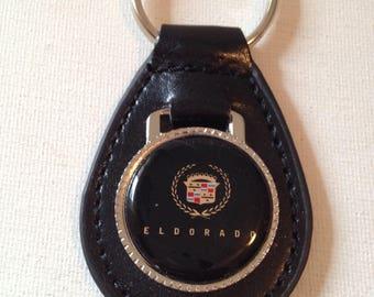 Cadillac Eldorado Keychain Black Leather Key Chain