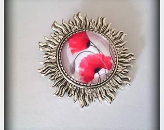 My pretty sunshine _cabochon poppy brooch