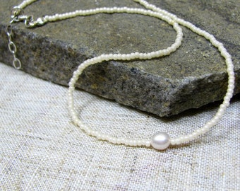 Pearl Beaded Choker, Pearl Choker Necklace, Short Single Pearl Necklace, 925 Sterling Silver Seed Bead Choker, Seed Bead Choker