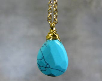 Turquoise Necklace in Gold or Sterling Silver, Turquoise Drop Necklace, Turquoise Jewelry, Turquoise Pendant Necklace, December Birthstone