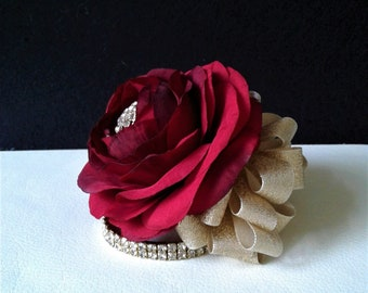 Red and Gold Wrist Corsage-Red Ranunculus Corsage-Wedding Corsage-Prom Corsage-Homecoming Corsage