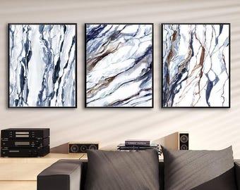 Marble Prints, Set Of 3 Abstract Prints, Printable Watercolor Set,  Printable Marble Wall
