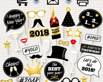 New Year Photo Booth Printable Props - 2018 Party Props - Photo Booth - Black and Gold -  New Years Photo Booth Props - Party Printables