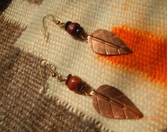 Stamped Copper Leaf Dangle Earrings