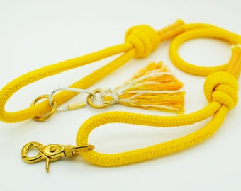 Pure Cotton Rope Dog Lead - Yellow - Dog Leash, Braided Cotton, Strong, Handmade, Unique