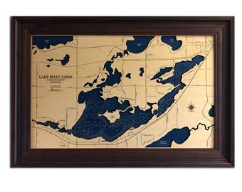 Lake Belle Taine Dimensional Wood Carved Depth Contour Map - Customize With Your Home Information