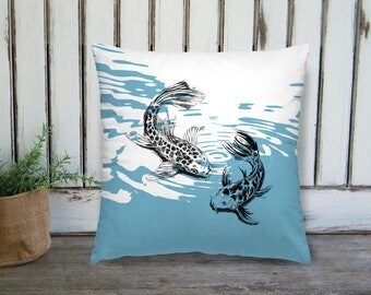 Koi Fish Pillow, Blue Square Pillow, Nautical Decor, Fish Throw Pillow, Nature Art Pillow, Square Cushion, Bedroom Decor, Easter Gift