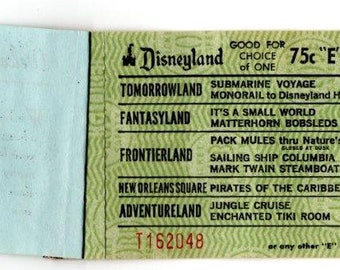 """Rare - 1970s Prized """"E"""" Ticket to Disneyland - Original Booklet - Top Condition - 1st Owner"""