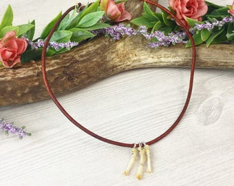 Animal Bone Choker Necklace >> Real Mammal Leg Bone on Tan Leather Cord >> Biology Science Nerd Oddities and Curiosities Pagan Gift For Her