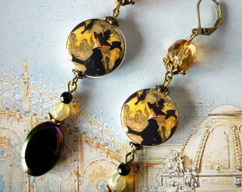 "Earrings retro style ""PARIS"" bronze métal, porcelain portraits 1900, black and iridescent Czech glass beads"