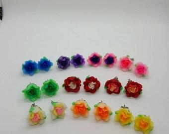 Rose flower earrings  (ER099)