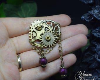 """Elegant Gears"" - Burgundy Red steampunk brooch"