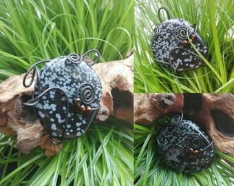 Snowflake Obsidian wrapped with wire