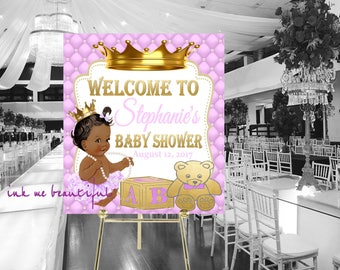 DIGITAL FILE Royal Pink Baby Welcome Poster,Princess Baby Shower,  Royal Baby Shower Decor, A Princess is On It's Way RL-008