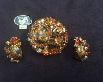 Juliana D&E Amber, Colorado Topaz, Brown and Gold Foiled Art Glass Brooch and Earring Set 1231
