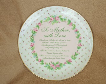 """Vintage Collectible Plate; Wallace Berrie; """"To Mother, with Love"""""""