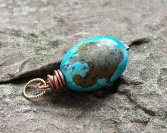 Turquoise pendant, kingman turquoise, southwest, natural Turquoise, real turquoise, gemstone pendant, focal stone, jewelry