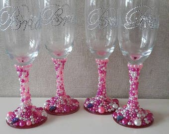 Beautiful Wedding glasses, Champagne flutes. Perfect gifts for the Bridal party and top table. Bride, Bridesmaids, Mother of the Bride etc