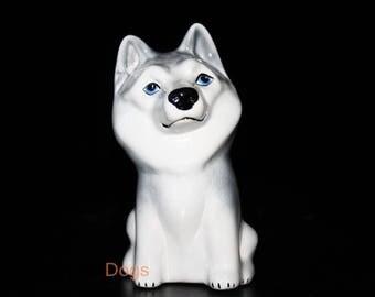 Husky - Funny Pawls series, dog ceramic figurine handmade statuette