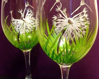 Set of 2,  Dandelion Wishes Hand Painted Wine Glasses, Set of 2