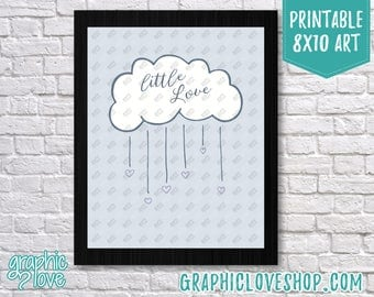 Printable 8x10 Blue Little Love Nursery | Digital High Resolution JPG File, Instant Download