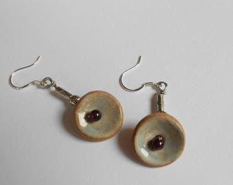 Aromatherapy earrings of pale aqua ceramic discs and garnet centers pewter beads sterling silver hooks essential oil diffuser jewelry