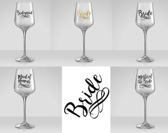 Wedding Hen wine glass decal favour Stick on decal - Decal only - Free post