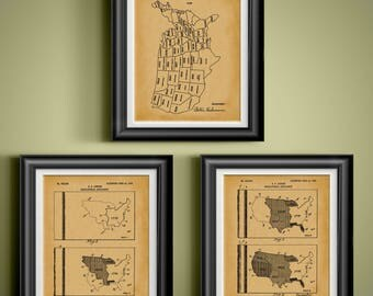 United States Map Patent Art US Territory Wall Art State Founding Decor Statehood Date Artwork History Classroom Decoration Set of 3 PP 9315