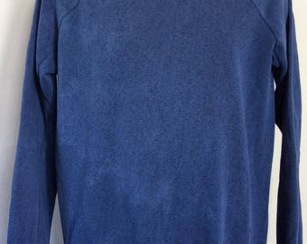 Vtg 80s Healthknit Plain Blue Raglan Sweatshirt XL Tall Blank Crewneck Distressed