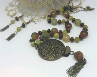 Gemstone Necklace Set - Brecciated Red Jasper, Olive Jade (New Jade Serpentine) and Glass Necklace and Earrings - Handmade