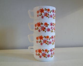 """Vintage 70' lot of 4 Arcopal France """"Scania"""" coffee cups"""