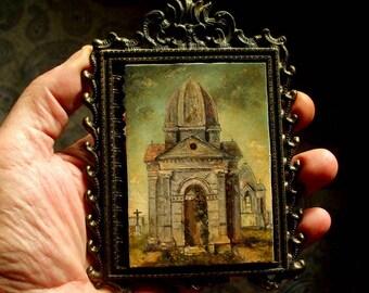Cemetery Painting, ACEO Original, Miniature Landscape Painting, ACEO Masterpiece,  Oil Painting, David Smith Landscape Painting, Galveston
