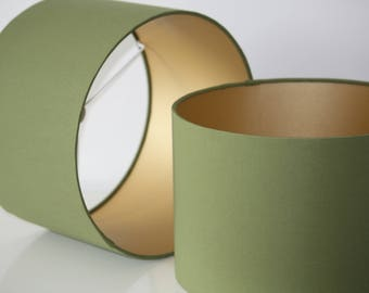 Olive green handmade drum lampshade with gold lining available in variety of sizes