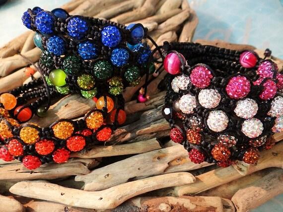 MADE IN AUSTRALIA Adjustable Shamballa Bracelet Macrame Clay Beads Rhinestone Bling Disco Ball Balls Pave You choose the colour!