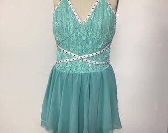 Adult xsmall aqua  dance dress