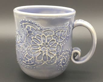 Lavender floral mug, slip trailed, botanical, pottery, flower, purple, stoneware