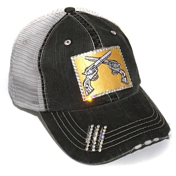 df1ab37274d8a Double Pistol Bling Hat Gun Trucker Swarovski