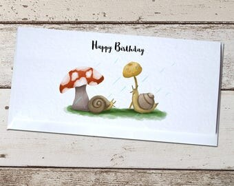 Snails in the Rain Birthday Card