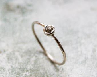 Tiny Raw Diamond Ring, Silver Diamond Ring, Skinny Stacking Ring, Grey Raw Diamond Ring, Rough Gemstone Ring, Organic Silver Diamond Ring