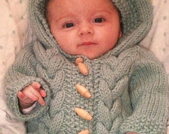 Babies Cable Sleeping Bag 0=12 Month Knitting Pattern