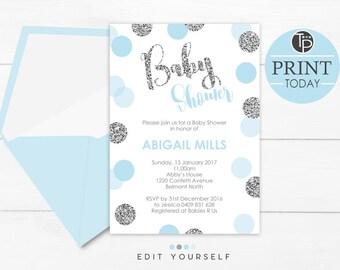 Blue Silver Confetti Baby Shower Invitation, Instant Download INVITATION, Boy Baby Shower Invitation, Printable Baby Shower Invitation, Blue