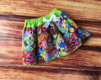 Girls Muppet Birthday Skirt, Muppet Skirt, Sesame Street, Muppet Baby, Muppet Birthday, Kermit, Miss Piggy, Fozzie Bear, Handmade