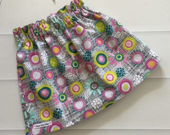 Girls Skirt, Skirt, Paperbag waist, paperbag skirt, high waist skirt, Size 2, Multicolour