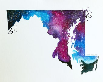 Maryland Map, Map gift, State map, Galaxy Painting, Illustration art, State Print, Art print, Modern Wall art, Home Decor, Double exposure