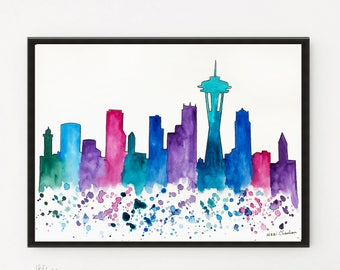 Seattle Skyline, Art decor, Travel art, Housewarming gift, Watercolor painting, City art, Illustration art, Art Print, Cityscape painting